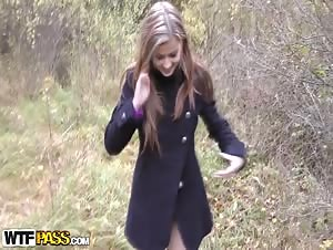 Girl in half hose has sex in fresh air
