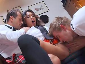 Schoolgirl babe Hannah Shaw takes on two tutors