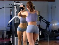 Beautiful model Veronika Zemanova working out at the gym and taking a bath