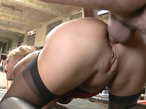 Blonde is rutted deep in the ass by a throbbing cock