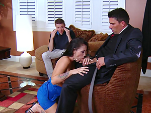 Slutty MILF is fucked hard in front of her husband