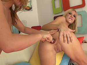 Sheena Shaw rams her dildo deep in Amy Brookes hot ass
