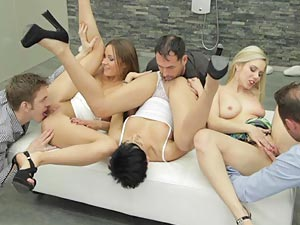 Sexy swinging action with hot couples