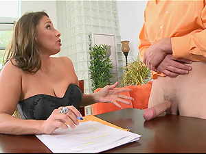 Horny MILF employer needs proof of big cock