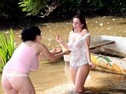 Lesbian fun at the riverside