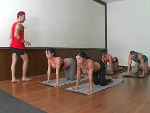 Yoga babes in studio gangbang