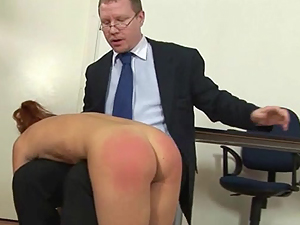 Spanking lesson for bad college babe