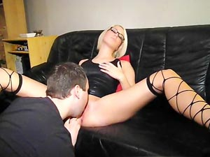 Smoking hot nerdy blonde gf gets fucked silly