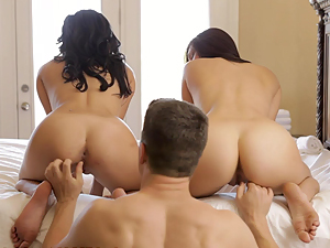 Nubile Films - Naughty babes share cock and cum