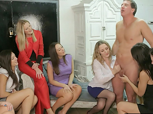 Group of Femdoms humiliate their sub in hot high def