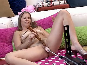 Melrose Foxxx fucking a dildo maching
