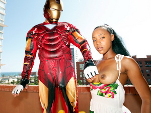 Interracial sex with a latina slut in a Iron Man XXX Parody
