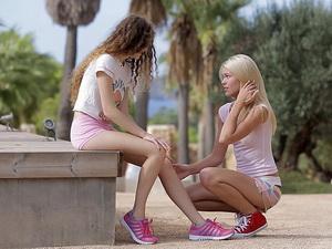 Izzy Delphine and Vanessa outdoors