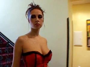 Brunette in lingerie fucked