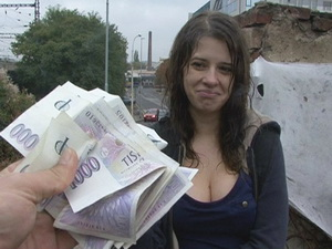 Czech college girl has outdoor sex for cash
