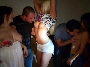 Young brunette in her first ever orgy