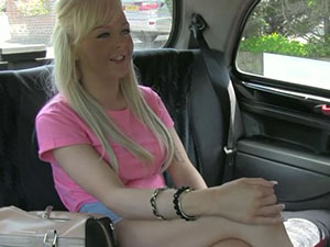 Blonde amateur agrees with the cab driver to suck his dick in exchange of a free taxi fare and she gets fucked after