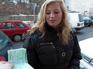 Shy blonde Czech girl takes cash for a public fuck