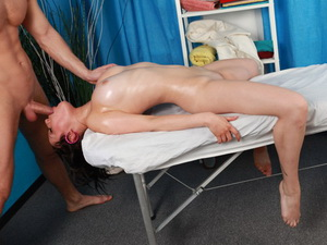Titted brunette with a massage hard fuck
