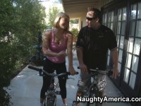 Krissy Lynn sucks some sweaty dick and gives a ride after taking a ride on her bike.