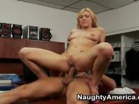 Horny blonde Samantha Sin fucks and sucks
