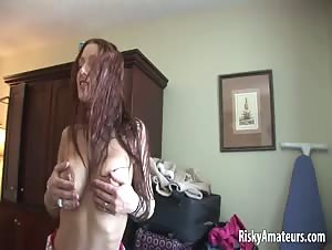 Busty amateur girl shows her boobs and sexy tattoo