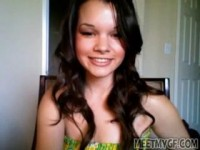 Very cute Latina teen undressing in front of her webcam