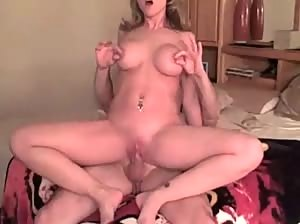 Horny blonde MILF riding cock