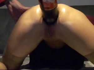 Big Coca cola bottle up the ass