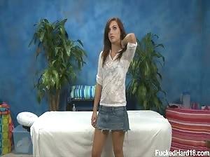 Small tits teen Mayjane Johnson on the massage table