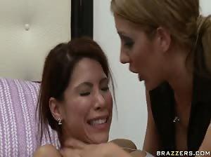 Sexy lesbians Blake Rose and Aleksa Nicole anal toying