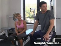 Tight blond sucks a hard cock in the gym.